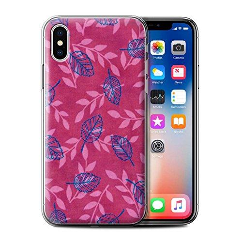 Stuff4 Gel TPU Hülle / Case für Apple iPhone X/10 / Lila/Blau Muster / Blatt/Ast Muster Kollektion Rosa/Blau