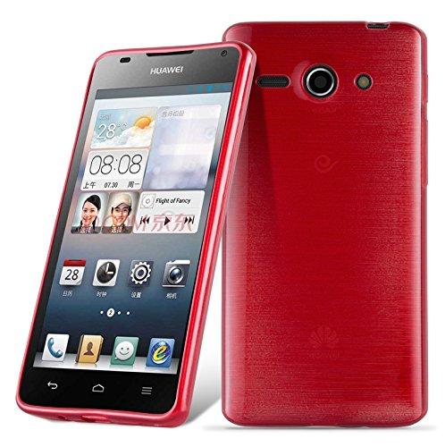 Cadorabo DE-105008 Huawei Ascend G520 / G525 Handyhülle aus TPU Silikon in gebürsteter Edelstahloptik (Brushed) Rot