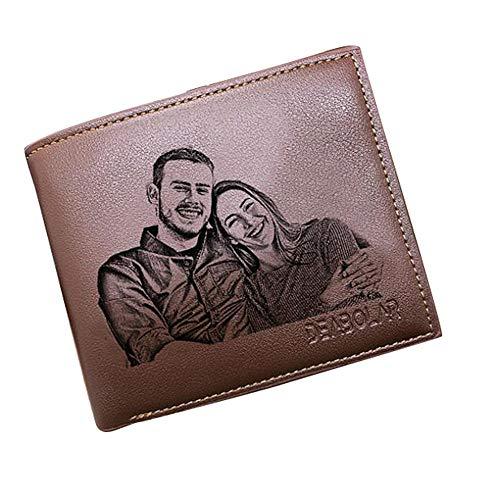 Personalisierte Herren Geldbörsen Benutzerdefinierte Foto-Geldbörsen Mannes schicke Leder Brieftasche ID Kreditkarte Foto Halter -