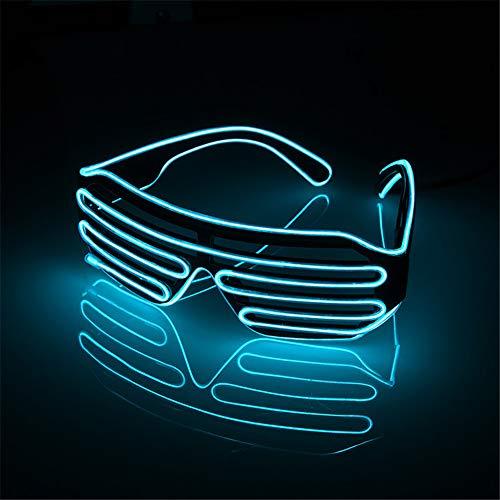 (LED Licht Brillen Neon EL Draht Rave Brille,Jalousien Jubeln -Brille für Sportveranstaltungen, Weihnachten, Halloween, verrückte Partys zitronengelb)
