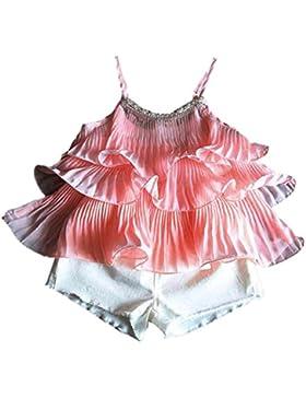 [Patrocinado]Ropa para chicas, RETUROM Verano ropa conjunto nuevo diseño niña incluyendo Pearl gasa chaleco + pantalones cortos