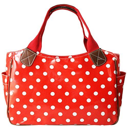 e6f196b1c06e3 Miss Lulu Damen Wachstuch Handtasche Schultertasche Einkaufstasche Tasche  Shopper Gepunktet Eule Blumen Schmetterling Gepunktet Rot
