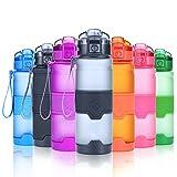 Grsta Sport Trinkflasche, 1000ml/32oz - BPA frei Tritan Kunststoff Wasserflasche, Auslaufsicher Sporttrinkflaschen für Laufen, Yoga, Fahrrad, Kinder Schule, Wasser Flaschen mit Sieb, Ein Klick Geöffnet(Grau)