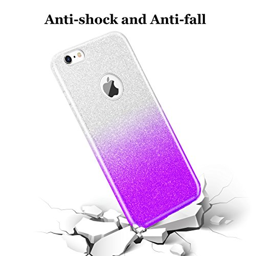 iphone 6S Hülle,Hanlesi Shiny Gradient Serie [Bling Kristallklar] Cover, Ultra Slim Sparkle Premium 3 Layer Hybrid Transparente Schutzhülle für Apple iPhone 6, 6S 4,7 inch transparente lila