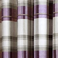 "Fusion - Balmoral Check - Ready Made Lined Eyelet Curtains - 66"" Width x 54"" Drop (168 x 137cm), Plum by Jrosenthal & Son Limited"