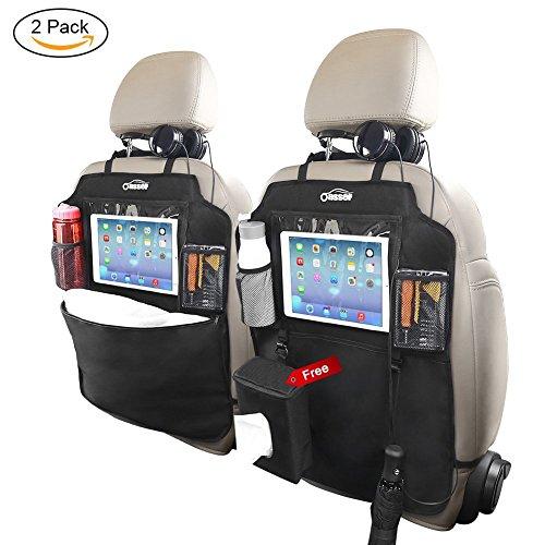 Oasser 2pcs Auto-Rückenlehnenschutz Rückenlehnen-Tasche mit Durchsichtigem Tablet-Fach für Flasche Ipad und Extra Dinger Wasserdichtes Spezialmaterial (Organisiert Box)