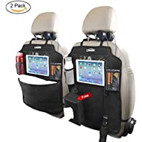 Oasser 2PCS Kick Mats Car Organisers Waterproof Seat Back Protectors with 10 Inches iPad Tablet Touch Screen Holder Multi Pockets Including Tissue Box