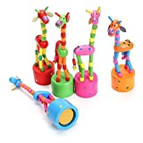 #6: Fancyku Wooden Cute Colorful Giraffe Push Puppets, Swing Dancing Body Giraffe Desktop Toys Cartoon Fingers Toys Home Kids Room Decoration
