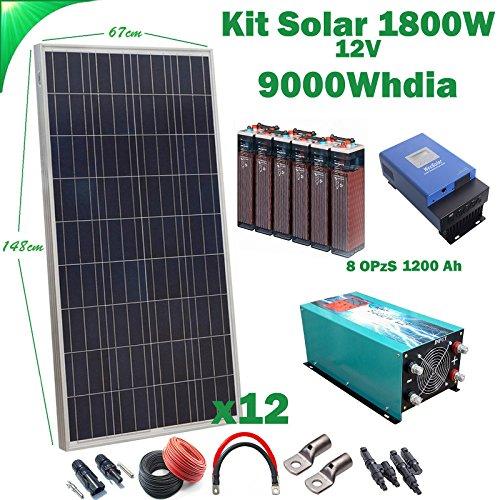Kit solar 12V 1800W/9000W Tag Solarladeregler MPPT 60A Inverter 5000W reines Onda mit Ladegerät 80A 8opzs 1200AH Akku -