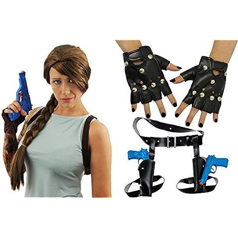 Lara Croft Fancy Dress Wig, Holsters, Guns & Gloves Kit (disfraz)