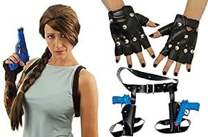 Déguisement accessoires pour adulte de la plus célèbre aventurière des jeux vidéos. Idéal pour les enterrements de vie de jeune fille ou pour les fêtes d'Halloween.
