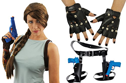 Imagen de lara croft fancy dress wig, holsters, guns & gloves kit disfraz