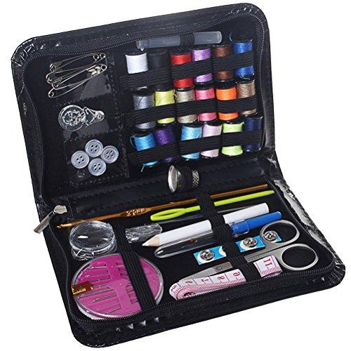 Kit de costura, suministros de costura sicai 58piezas Premium caja de costura Accesorios de costura para el hogar, viajes y uso de emergencia, color negro
