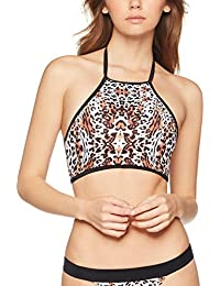 Marchio Amazon - Iris & Lilly Reggiseno Bikini Leopardato a collo Alto Donna
