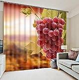 H&M Gardinen Vorhang Frische Trauben EIN Warmer Schatten Tuch UV-Druck 3D dekoriert Schlafzimmerfenster Vorhänge fertig, Wide 3.2X high 2.7