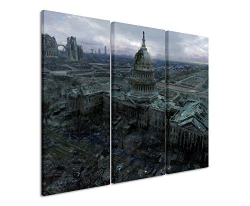 Leinwandbild 3 teilig Fallout_3_Capitol_Building_3x90x40cm (Gesamt 120x90cm) _Ausführung schöner Kunstdruck auf echter Leinwand als Wandbild auf Keilrahmen