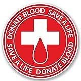 2 x 10cm/100 mm Faire un don de sang Auto-adhésif Autocollant Vinyle Autocollant pour portable Assurance voiture signer Fun #4922...