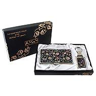 Mère de perle Design Arabesque Porte-clés Support Business crédit Nom Porte Carte d'identité Slim Argent cas de