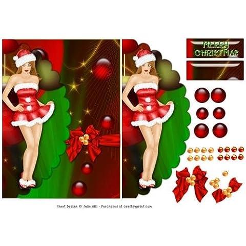 Ornamento de la Navidad Papá Noel shaniztoons falso sobre tarjeta de Julie de la colina