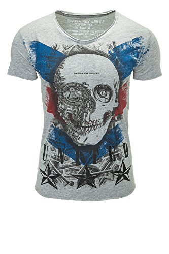 Key Largo Herren T-Shirt Kurzarmshirt Print Shirt O-Neck Silver Melange