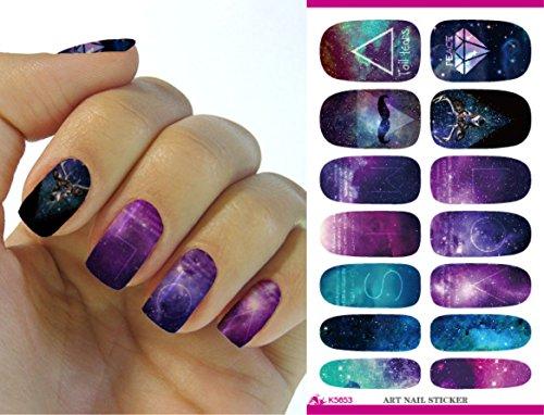 Feuille complète d'autocollant de transfert à l'eau pour l'art des ongles K5653 Nail Sticker Tattoo - FashionLife