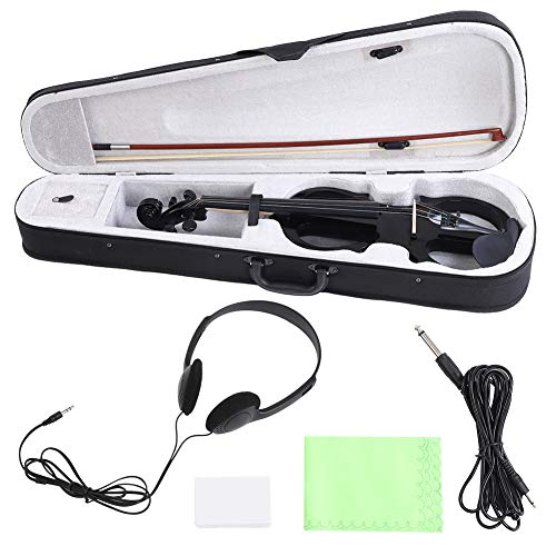 E-Violine, 4/4 Massivholz E-Geige Ahorn Elektrische Violine mit Bogen Kopfhörer Audiokabel Zubehör -