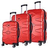 SHAIK SERIE RAZZER SH002 3-tlg. DESIGN RAZZER Hartschalen Kofferset, Trolley, Koffer, Reisekoffer, 4 Doppelrollen, 25% mehr Volumen durch Dehnfalte (Rot)