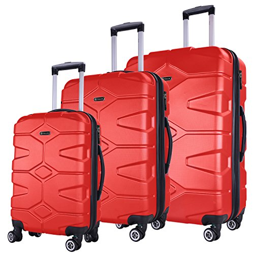 SHAIK® Serie RAZZER Maletas De Viaje TSA CASTILLO 50/80/120 Capacidad De Litros Cubierta Dura Y Flexible Equipaje De Mano Con Ruedas 360⁰ De Rotación (Rojo, 3 Piezas)