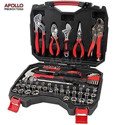 Apollo Precision Tools Kit d'outils professionnels 80pièces pour maison et garage comprenant Pince pour pompe à eau, Pince de verrouillage, Pince à joint coulissant, Pince à nez long, Clé à molette, Poignée de tournevis à cliquet 3/8