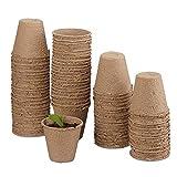 MMBOX - Set di vasi da Coltivazione biodegradabili per Piante, 50 Pezzi, in cellulosa, Rotondi, 8 cm, Beige