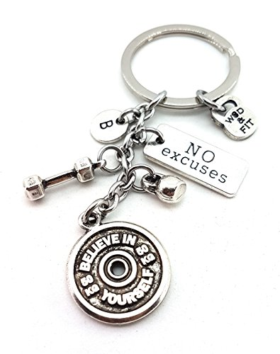 Keychain BELIEVE IN YOURSELF Dumbbell Hex, Kettlebell, Motivation & Initial Letter FitnessGift, Bodybuilding, Turnhallen-Geschenke, Übungs-Geschenk, Crosstraining, Crossfit Geschenk, kein Schmerz kein Gewinn, geben nie auf, No Pain No Gain, Never Give Up, I Love Burpees, Badass/ Go Hard, I Can/ I Will, Unbroken/ One More Rep, Boxing Glove,Running Shoe,Crossfit Girl, Sport Gift, Sport Motivation,Strong not Skinny, Personal Trainer,Wod & Fit Original