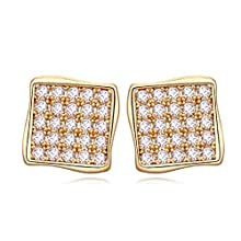 8mm CZ Cubic Zirconia Earrings,Gold Plated,White Gold and Rose Gold Plated Hypoallergenic Stud Earrings for Women
