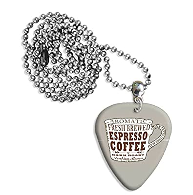 Espresso Coffee Cup Martin Wiscombe Guitar Pick Necklace Vintage Retro from Printed Guitar Picks