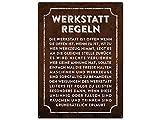 Metallschild 28x20cm WERKSTATT REGELN Wandschild Garage Hobbyraum Männer Sprüche