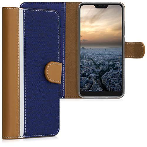 kwmobile Funda para Xiaomi Redmi 6 Pro/Mi A2 Lite - Carcasa de [Cuero sintético] - Case con Tapa y [Tarjetero] en [Azul Oscuro/marrón/Blanco]