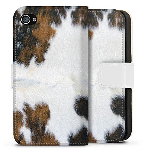 Apple iPhone 7 Plus Tasche Hülle Flip Case Kuh Fell Kuh Look Sideflip Tasche weiß
