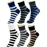 Neska Moda 6 Pair Men's Formal Cotton Rich Striped Ankle Length Socks-Blue,Black,Grey