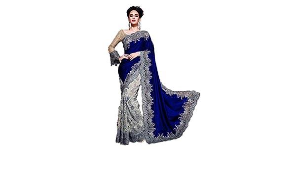 cd89c5bcd5 Rehsha Women Pakistani Wedding Bridal Net & Velvet Pallu Saree Heavy Work  Indian Navy Blue Sari: Amazon.co.uk: Clothing