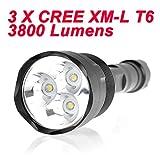 Super-luminoso 3800 lumen 3 x CREE XM-L T6 LED 5 modalità Torcia Torcia con Ampia tubo by L'lysColros®