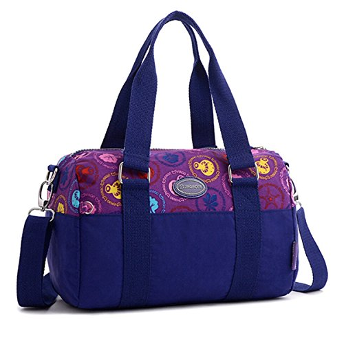 "Tiny Chou "", in Nylon impermeabile, Borsa Tote a tracolla da viaggio per Teen Girl & donna Viola (Purple Leaves)"