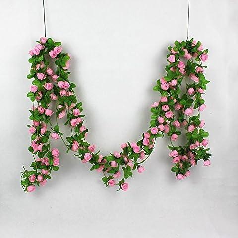 Lsv-8artificielles à suspendre Guirlande de feuilles de vigne Fleur en soie Home Garden Decoration-pink