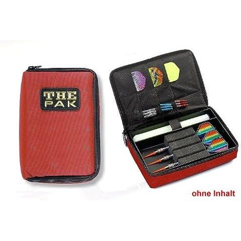 Custodia THE PAK Dart, colore rosso realizzato in resistente nylon-Custodia per 1-2 montato Set di freccette e scomparti aggiuntivi per il torneo e voli di ricambio. (senza contenuto)