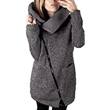 Covermason Mujer Irregular Cremallera Manga Larga Ropa de Abrigo Moda Sudaderas (L, Gris Oscuro