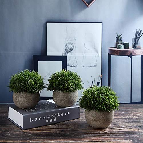 T4U Künstliche Grün Gras Bonsai Kunstpflanze mit grauen Topf, für Hochzeit/Büro/Zuhause Dekoration – 3er Set - 3