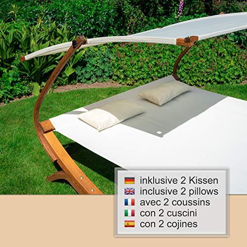 Ampel 24 Doppel-Sonnenliege Panama | 100% wetterfeste Gartenliege | verstellbares Sonnendach | Liege weiß für 2 Personen - 8