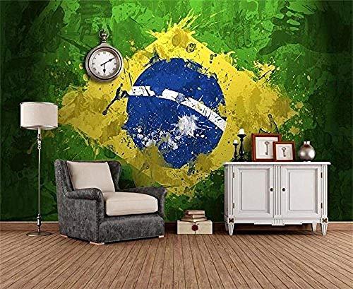Flagge Material (FSLUCKY Raum 3D Benutzerdefinierte Tapete Wandbild Foto Wandaufkleber Vlies Flagge Von Brasilien Tapete Für Malerei Raum Graffiti Wand 3D-A)