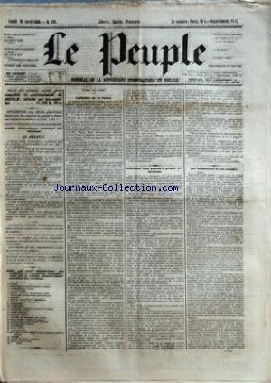 PEUPLE (LE) [No 162] du 30/04/1849 - COMITE DEMOCRATIQUE-SOCIALISTE DES ELECTIONS - MM. BAC - CARET - CHARASSIN - CONSIDERANT - D'ALTON-SHEE - DEMAY - GENILLER - GREPPO - HERVE - HEZAY - LAGRANGE - LAMENNAIS - LANGLOIS - LEBON - LEDRU-ROLLIN - LEROUX - MADIER DE MONTJAU - MALLARMEE - MONTAGNE - PERDIGUIER - PROUDHON - PYAT - RIBEYROLLES - THORE ET VIDAL - CONCLUSION DE LA FUSION - MM. THIERS - MOLE - MONTALEMBERT