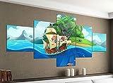 Leinwandbild 5 tlg. 200cmx100cm Kinderzimmer Pirat Schiff Schatzkarte Meer Bilder Druck auf Leinwand Bild Kunstdruck mehrteilig Holz 9YA233, 5Tlg 200x100cm:5Tlg 200x100cm