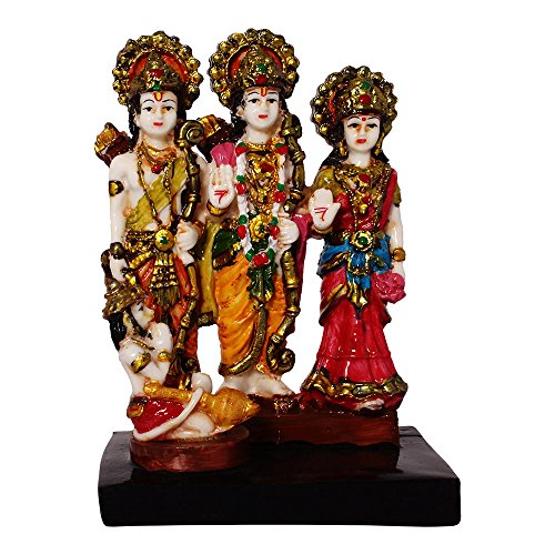 Multicolour Hindu God Shri Ram Darbar Statue Lord Rama Sita Laxman and Hanuman Darbaar Idol Handicraft Spiritual Puja Vastu Showpiece Figurine - Religious Pooja Gift item & Murti for Mandir / Temple / Home Decor / Office