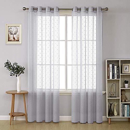 Deconovo tende trasparenti in finto cotone ricamate con stampa a pois con occhielli per soggiorno 140x290 cm grigio